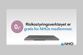 Skjermbilde som forteller at risikostyringsverktøyet er gratis for NHOs medlemmer.