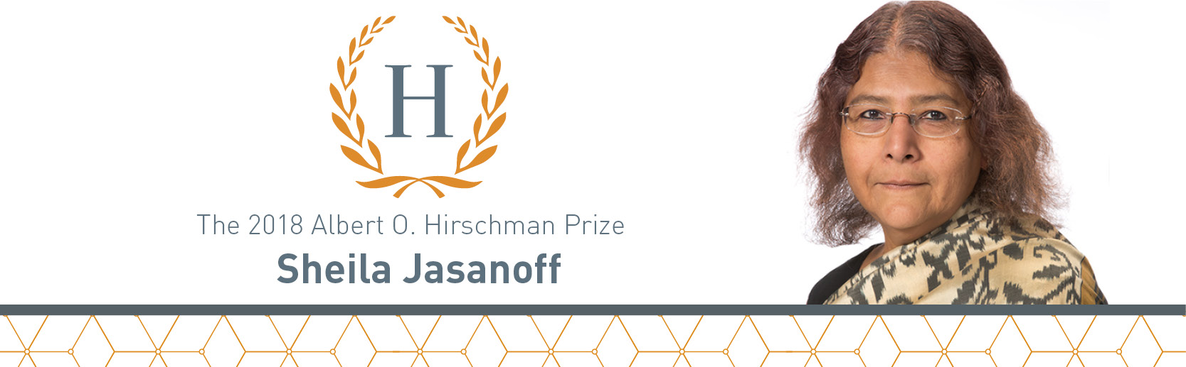 Hirschman Prize logo and photo of recipient Sheila Jasanoff