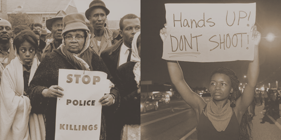 """Left: Image of African American protesters in the 1960s with a sign reading """"Stop Police Killings""""; Right: Protester from 2010s with sign reading """"Hands Up! Don't Shoot!"""""""
