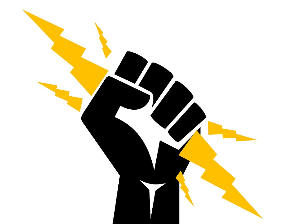 Image of fist and lightening bolt