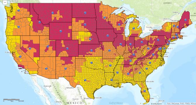 Image of Radon Map, US EPA