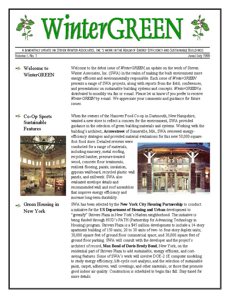Image of WinterGreen Newsletter's first edition in 1999