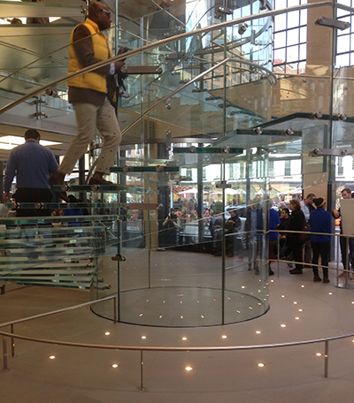 Image of circular glass staircase